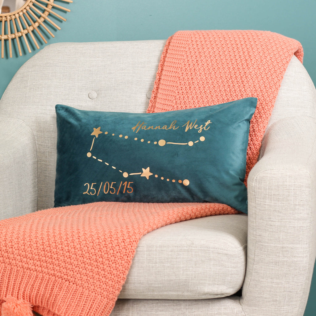 Personalised Star Sign Velvet Cushion For Her Home