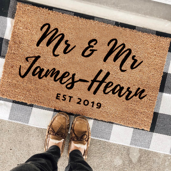 Personalised Mr And Mr Wedding Gift Door Mat