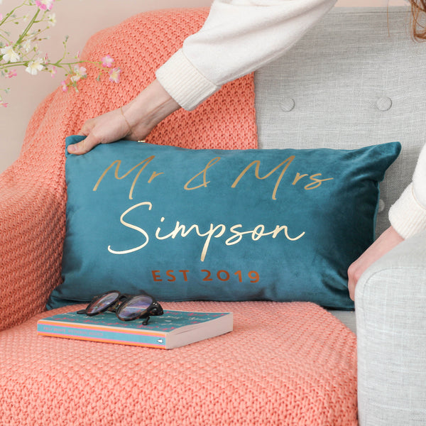 Personalised Mr And Mrs Velvet Wedding Cushion