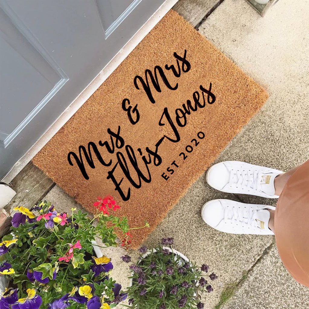 Personalised Mrs And Mrs Wedding Gift Door Mat