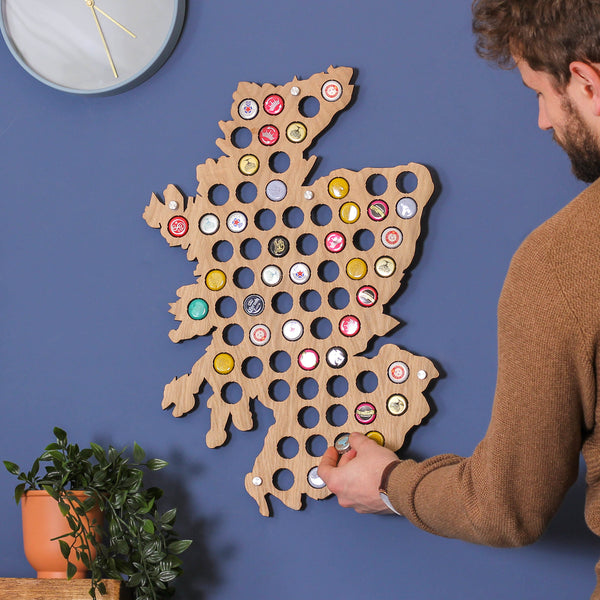 Personalised Scotland Beer Cap Map Wall Art