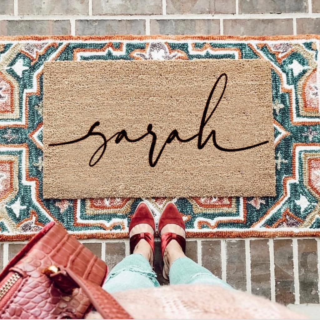 Personalised Script Font Doormat First Home Gift