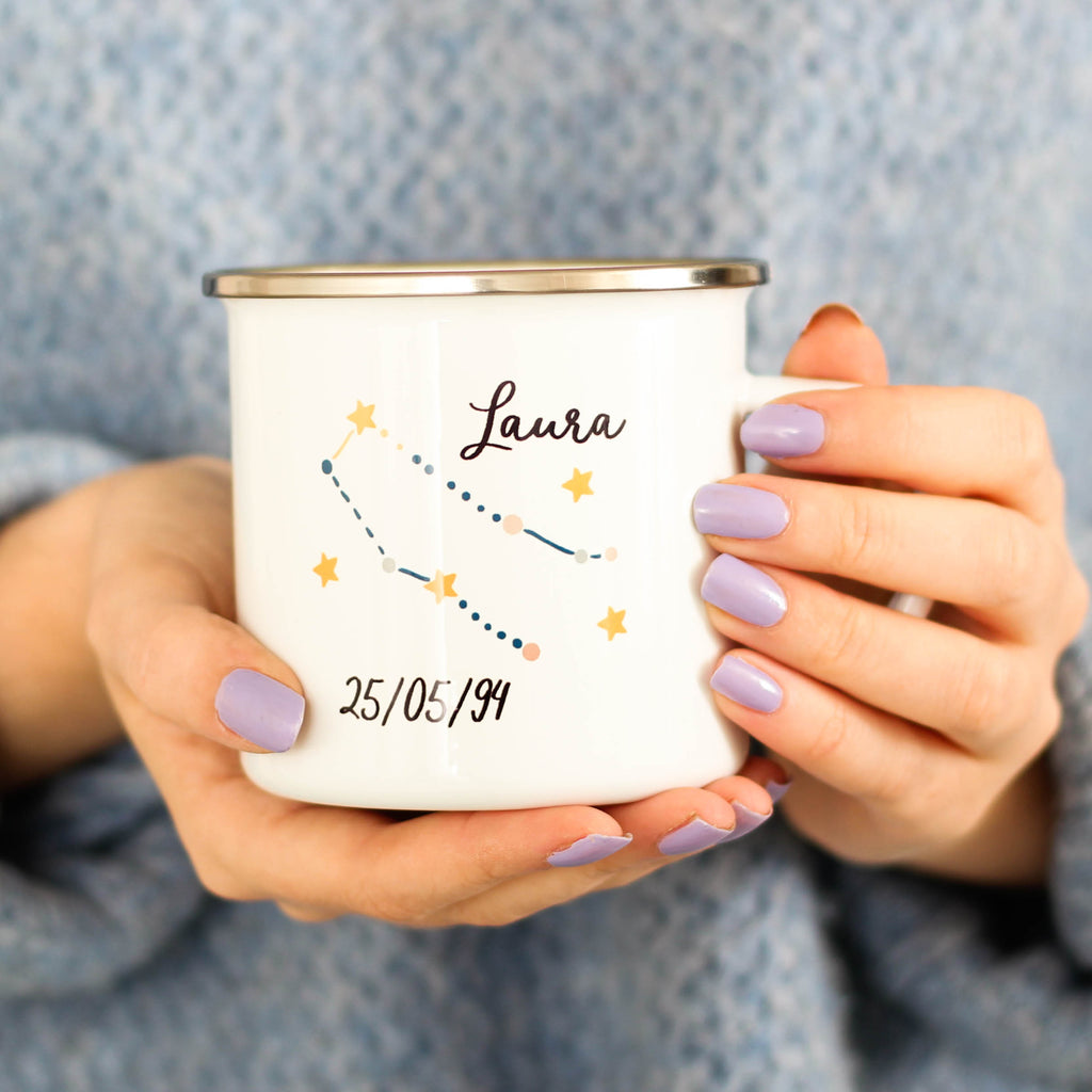 Personalised Star Sign Enamel Mug