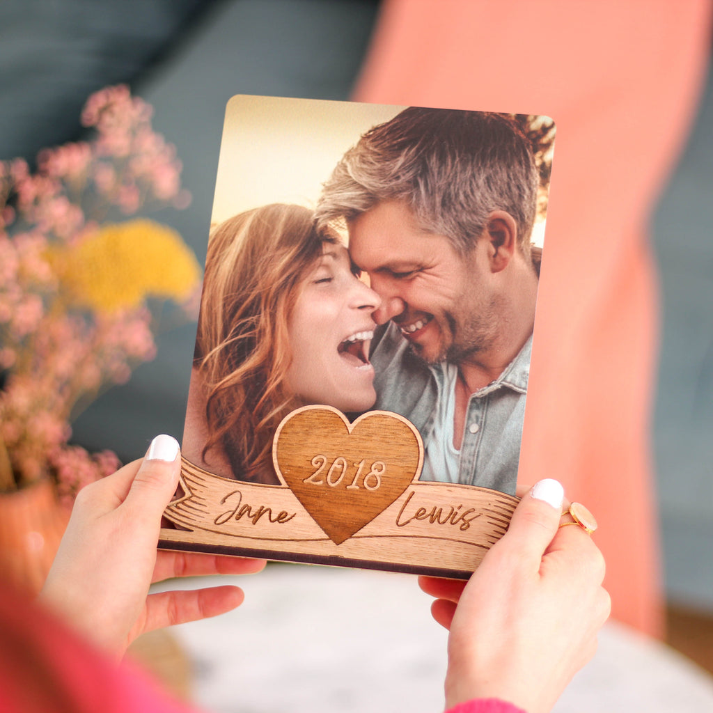 Personalised Wooden Photo Holder Frame For Valentine's