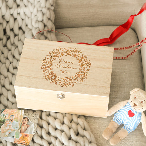 Personalised Babies First Christmas Wreath Keepsake Box