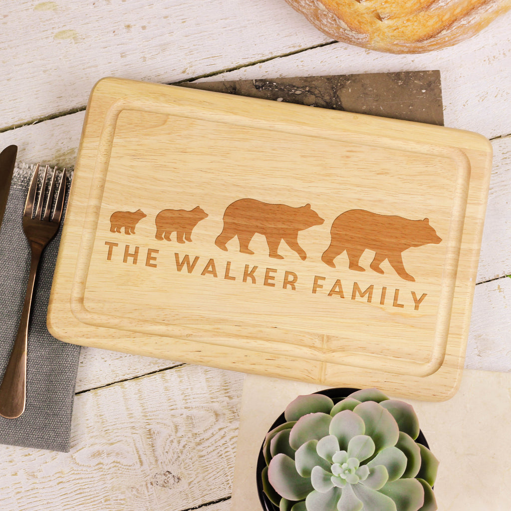 Personalised Bear Family Chopping Board