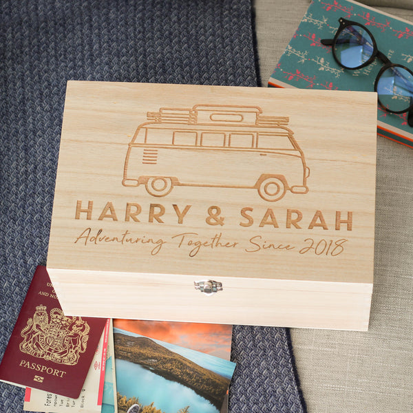 Personalised Campervan Travel Memories Keepsake Box