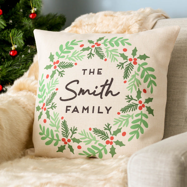 Personalised Christmas Family Wreath Decoration Cushion