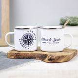 Personalised Compass Enamel Mug