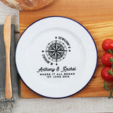 Personalised Compass Special Location Enamel Plate