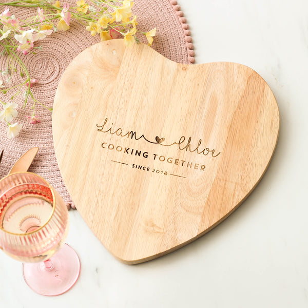 Personalised Cooking Together Heart Chopping Board