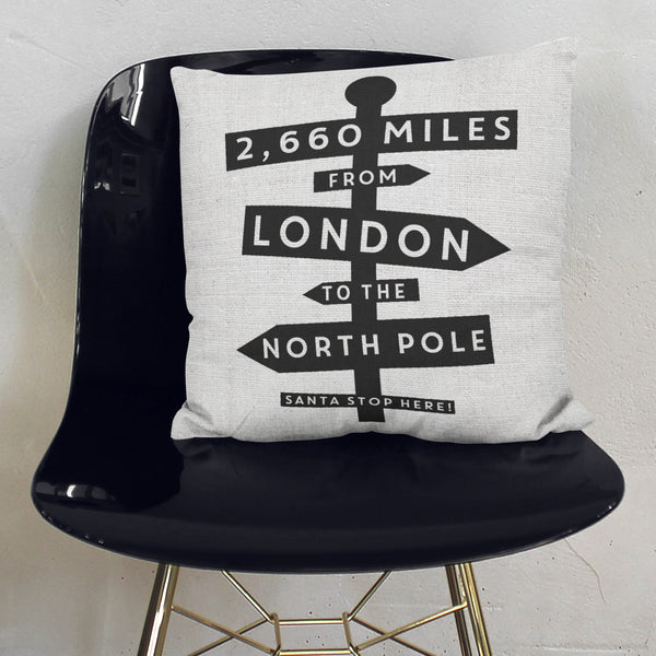 Personalised Distance From North Pole Cushion