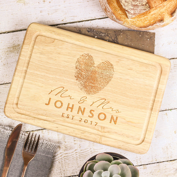 Personalised Finger Print Heart Chopping Board