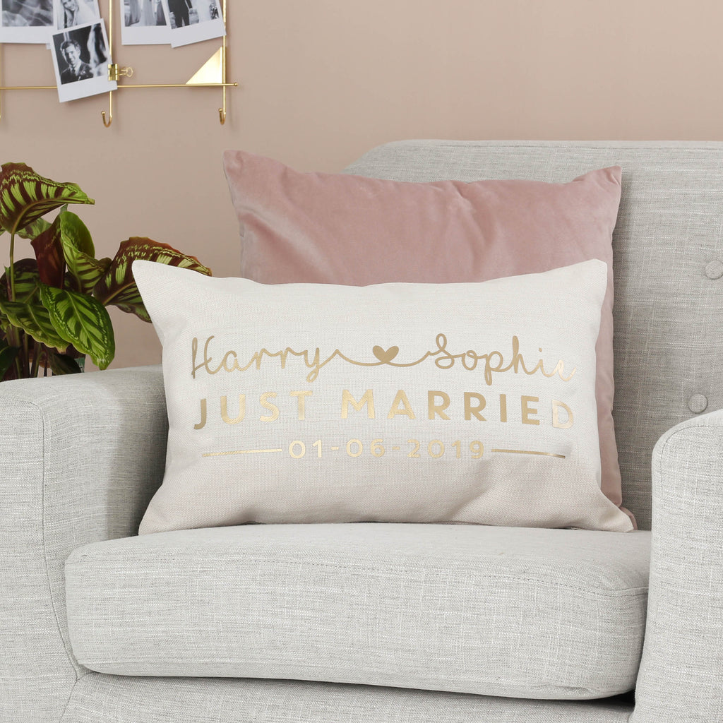 Personalised Just Married Gold Cushion