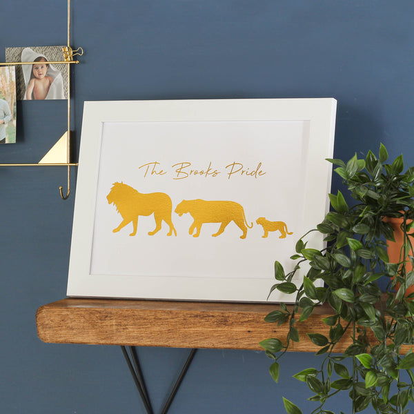 Personalised Lion Family Foil Print