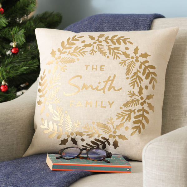 Personalised Metallic Gold Christmas Wreath Cushion