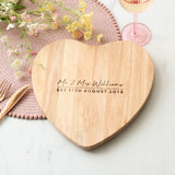 Personalised Mr And Mrs Heart Wedding Chopping Board