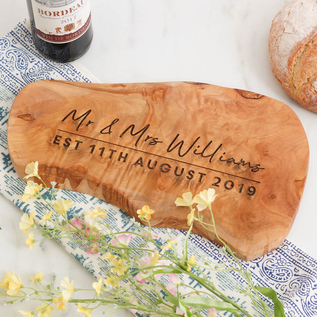Personalised Mr And Mrs Wedding Chopping Board
