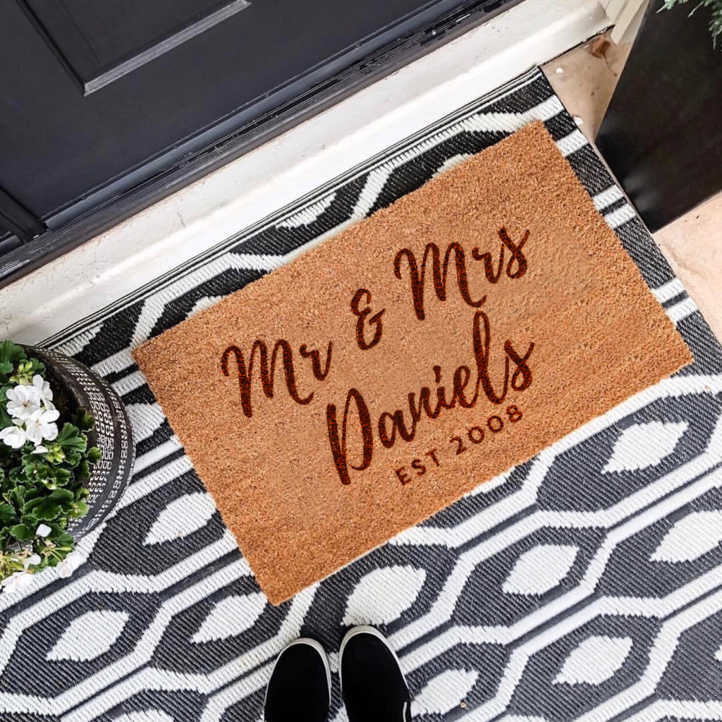Personalised Mr And Mrs Door Mat