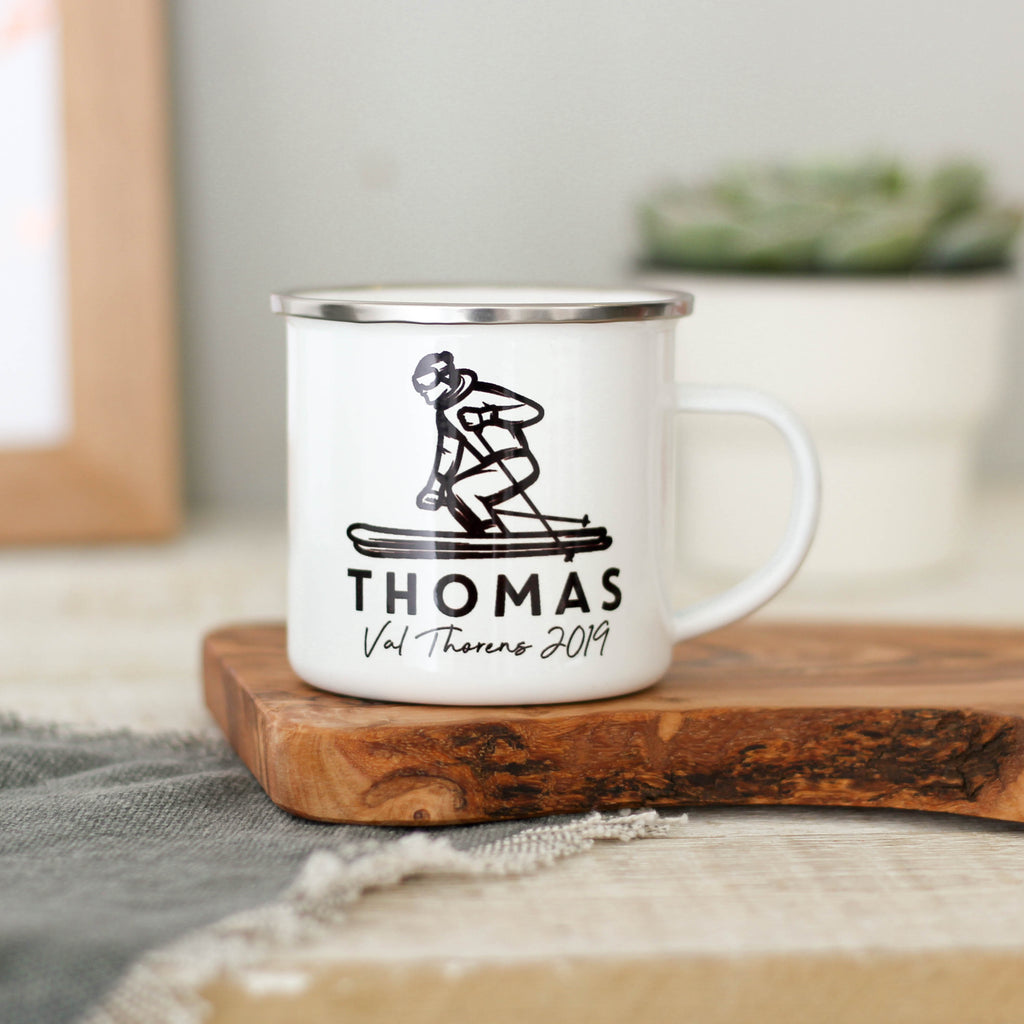 Personalised Ski Holiday Enamel Mug