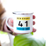 Personalised Tour De Sofa Enamel Mug