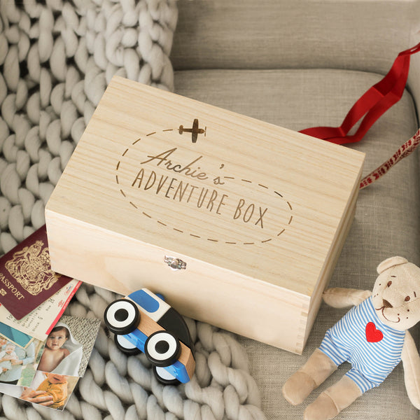 Personalised Travel Memory Keepsake Wooden Box