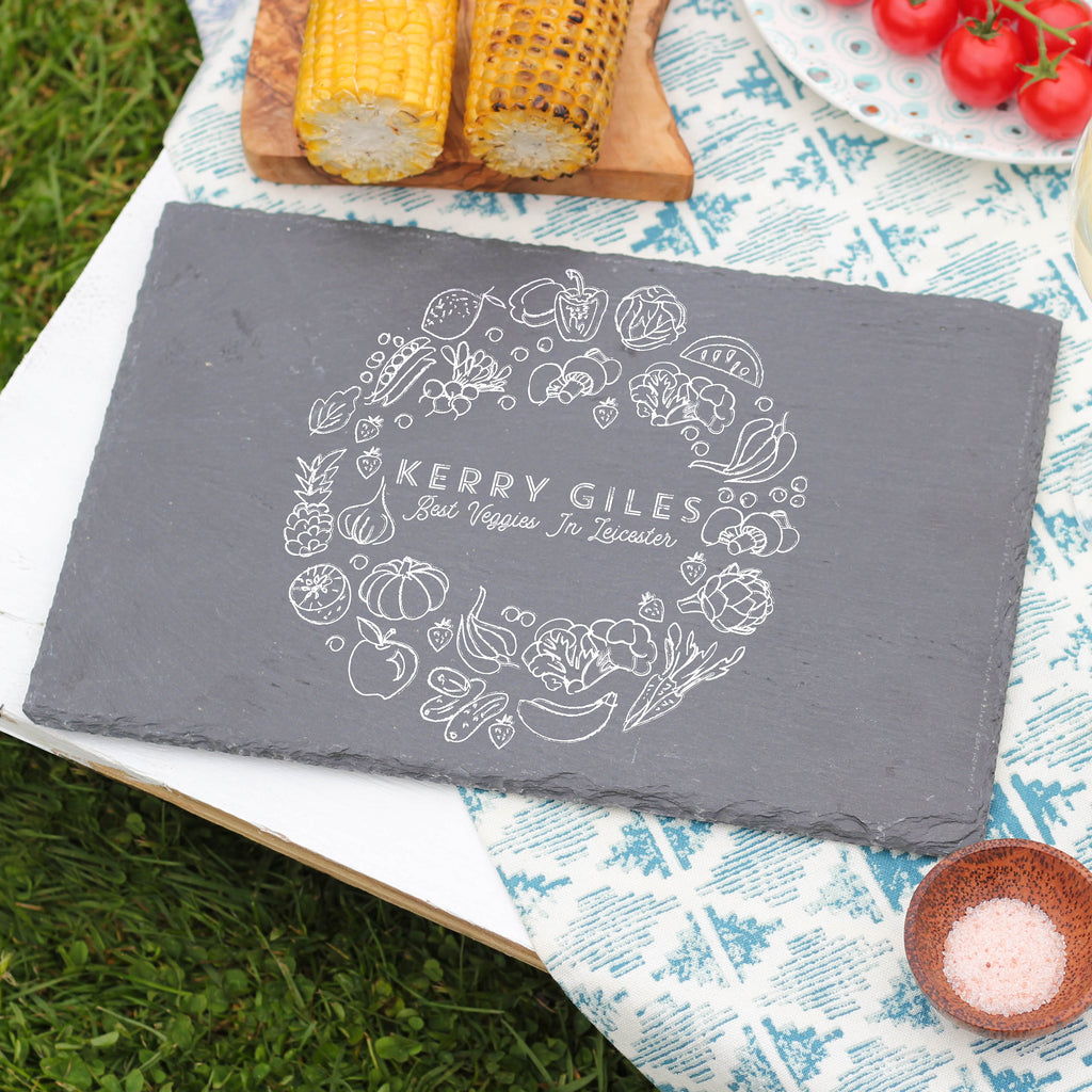 Personalised Veggie Wreath Slate Board