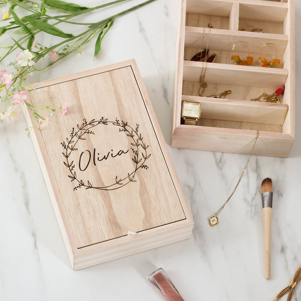 Personalised Wooden Jewellery Box With Mirror