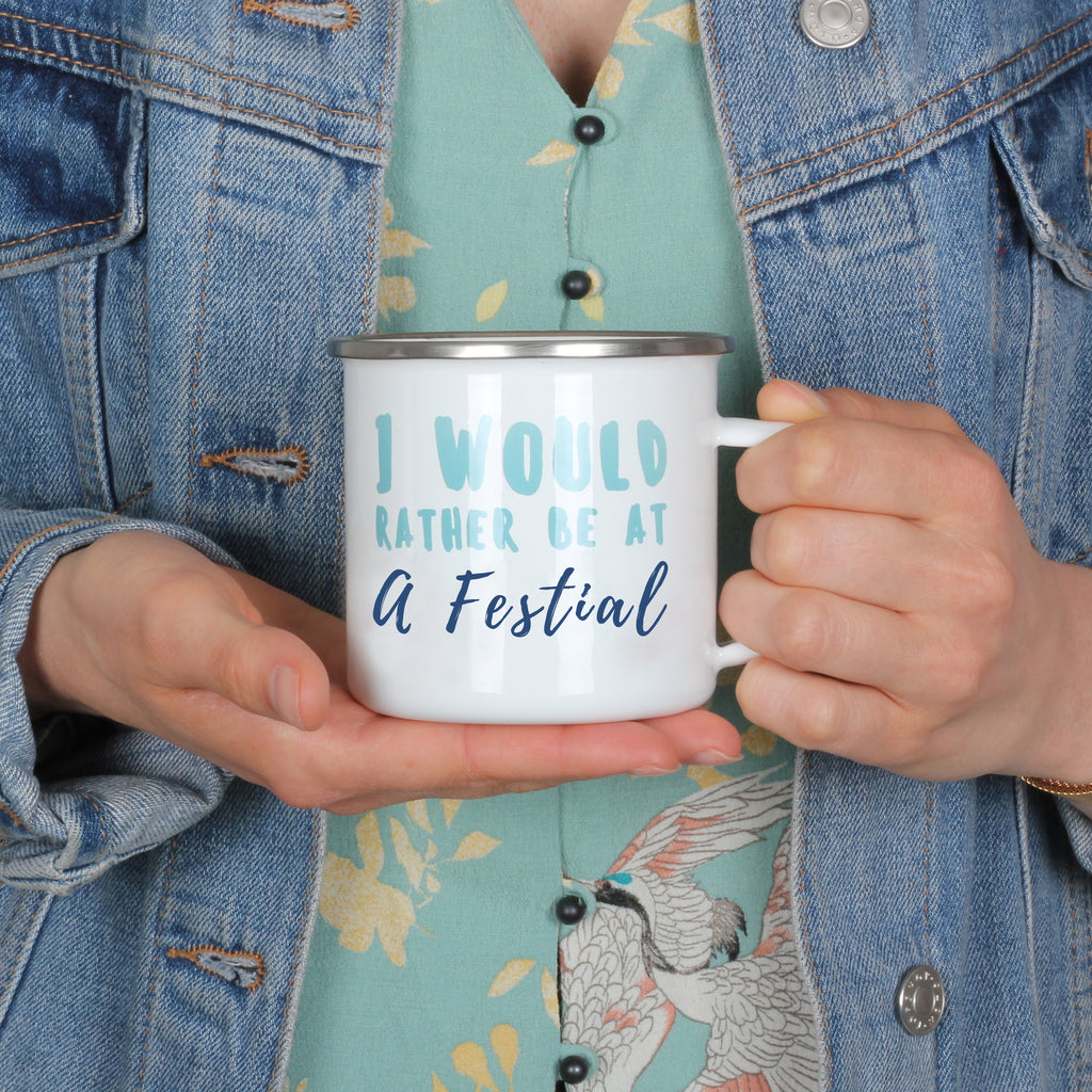 Personalised Would Rather Be At A Festival Mug
