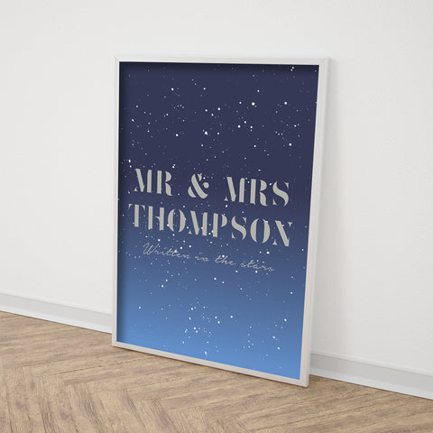 Personalised Mr And Mrs Stars Print