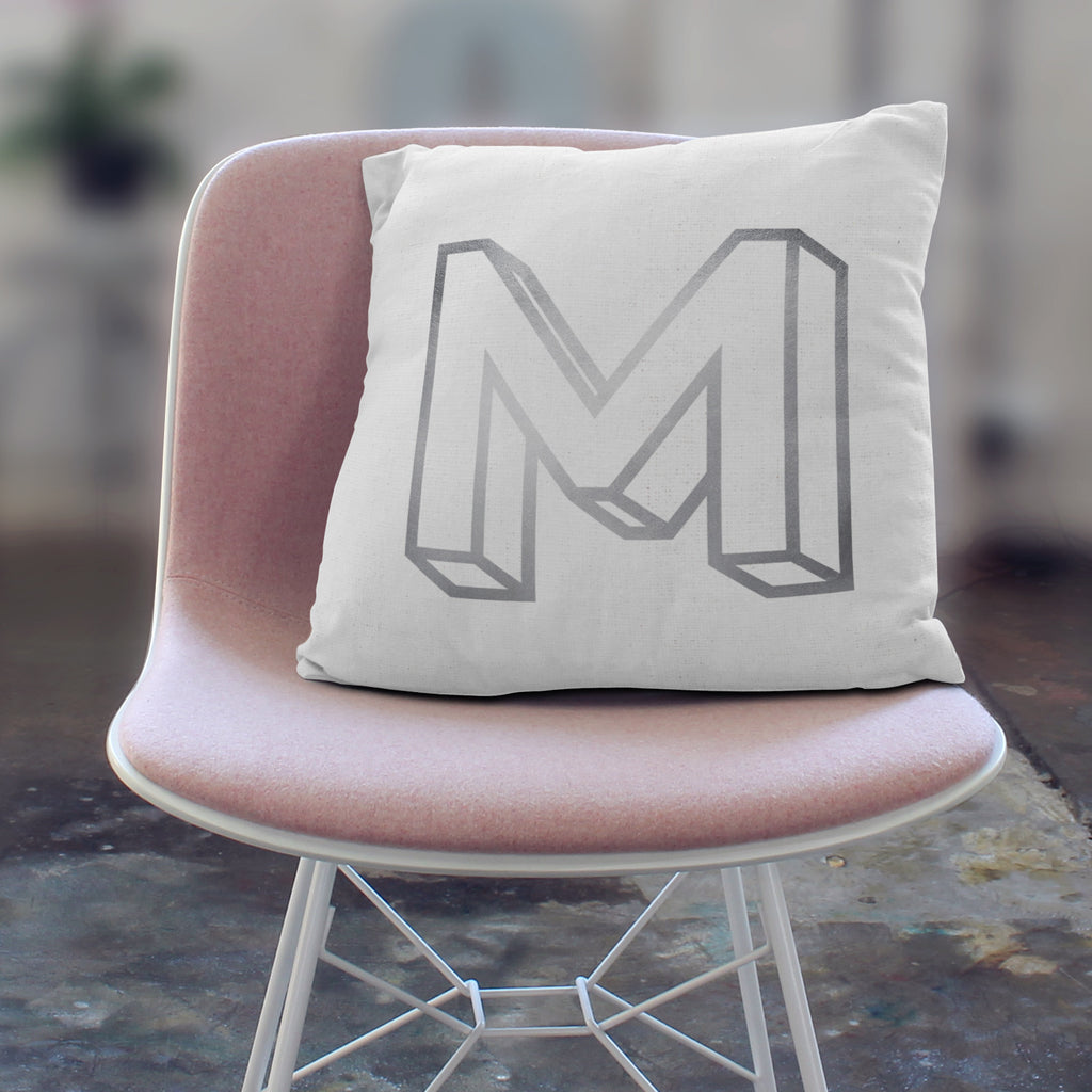 Personalised 3D Gold Initial Cushion