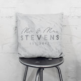Personalised Metallic Mr And Mrs Marble Cushion