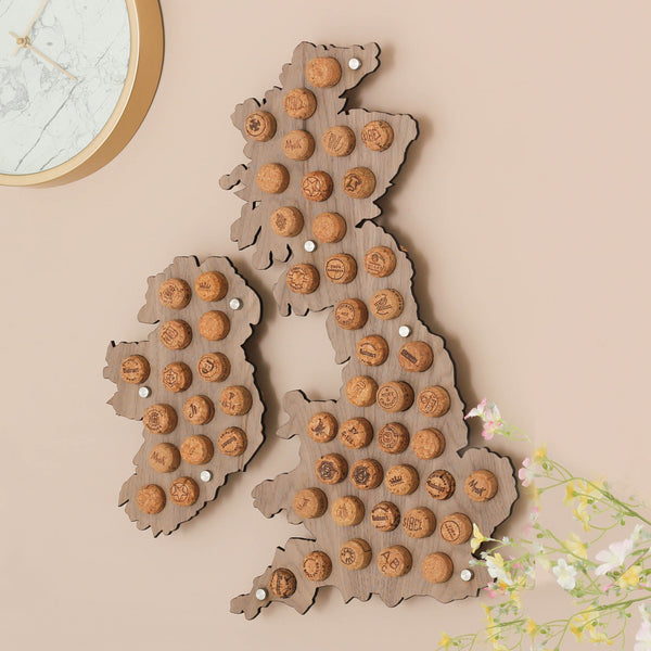 Wine Cork British Isles Map Wall Art