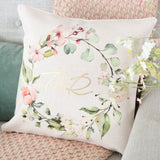 Personalised Floral Wreath Metallic Cushion