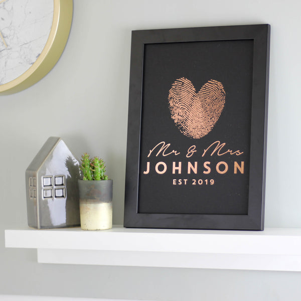 Personalised Metallic Finger Print Heart Print