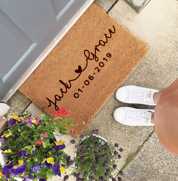 Personalised Couples Heart Names Doormat