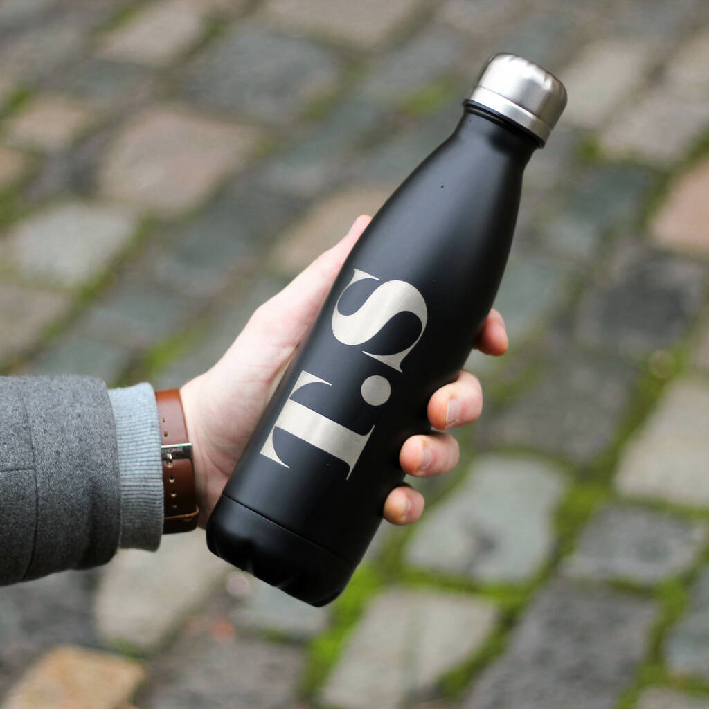 Personalised Reuseable Initials Metal Bottle For Dad