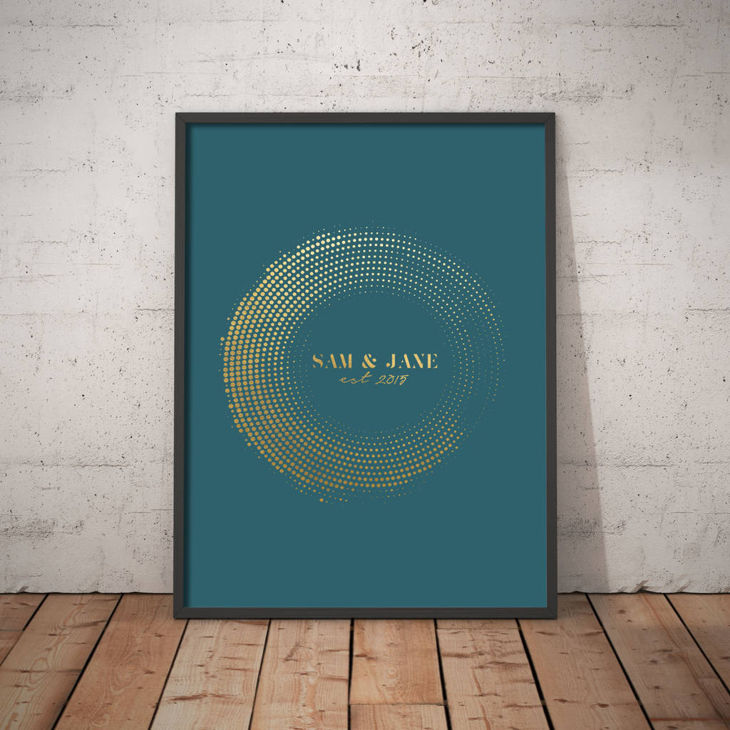 Personalised Circle Frame Foil Print