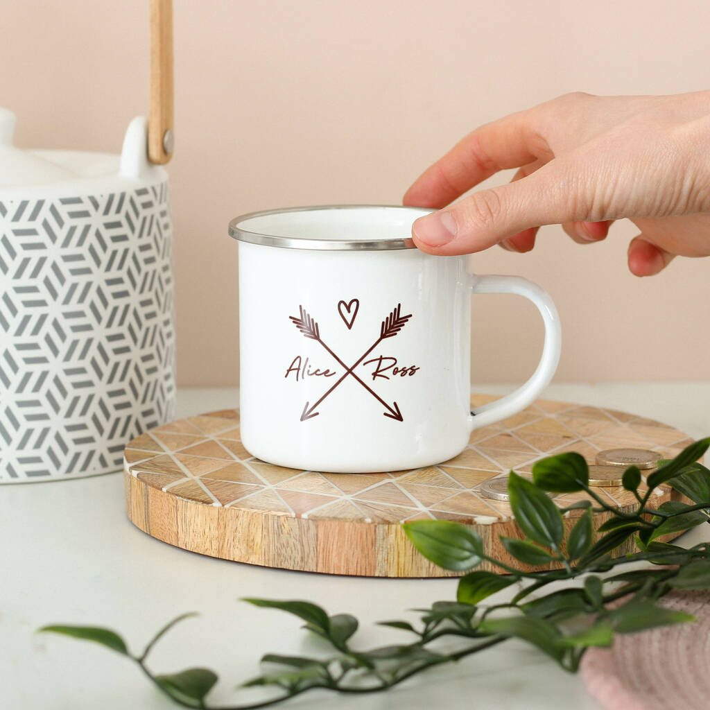 Personalised Couples Heart And Arrows Enamel Mug