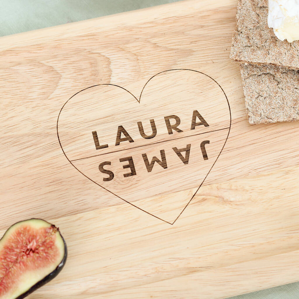 Personalised Couples Heart Chopping Board Gift