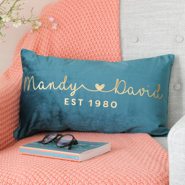 Personalised Couples Name Heart Velvet Cushion