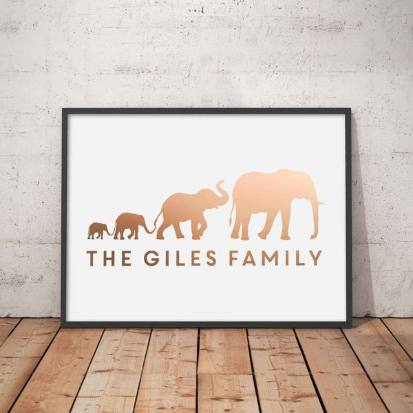 Personalised Elephant Family Foil Print