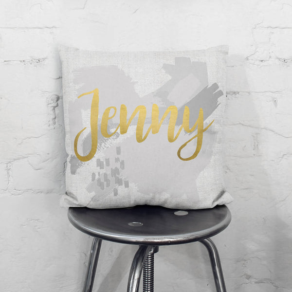 Personalised Grey Metallic Paint Strokes Cushion
