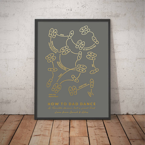 Personalised How To Dad Dance Foil Print
