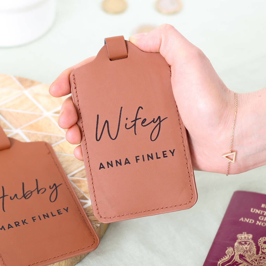 Personalised Hubby And Wifey Honeymoon Luggage Tag Set