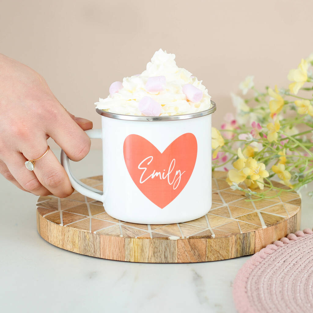 Personalised Love Heart Enamel Mug
