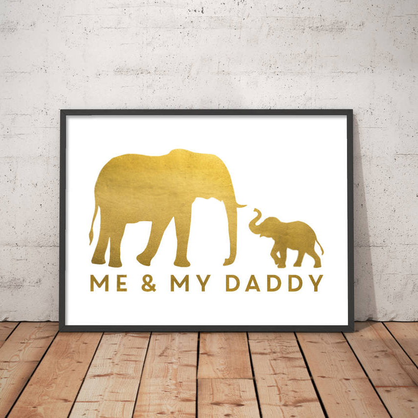 Personalised Me And Dad Elephant Print
