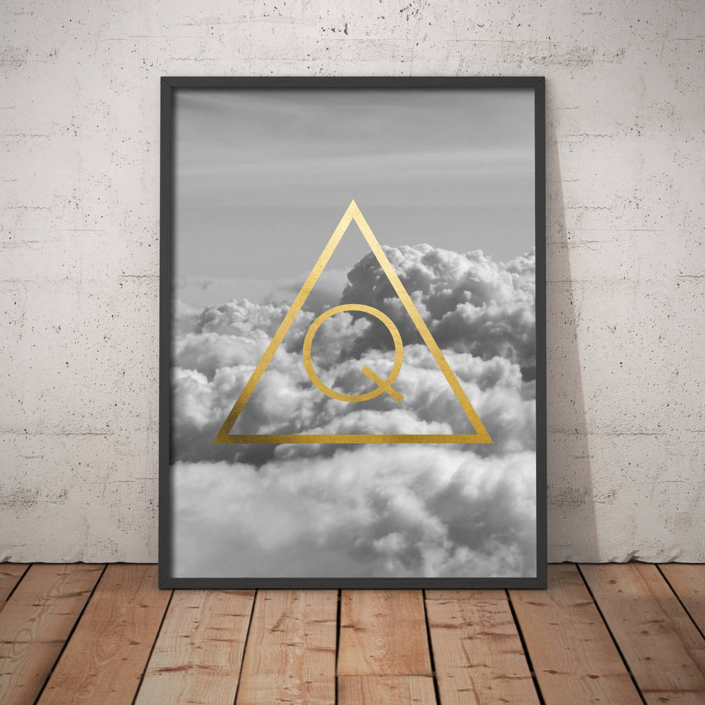 Personalised Metallic Triangle Initial Print