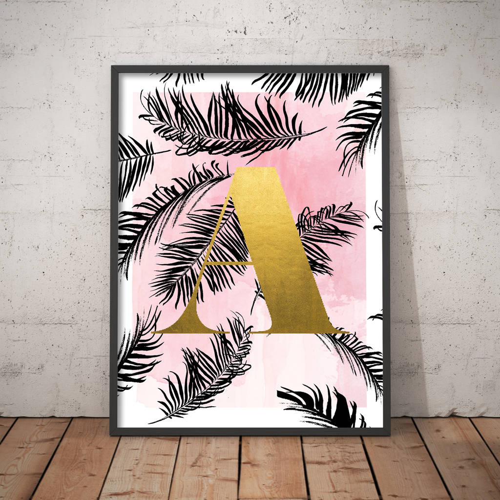 Personalised Palm Leaf Initial Print