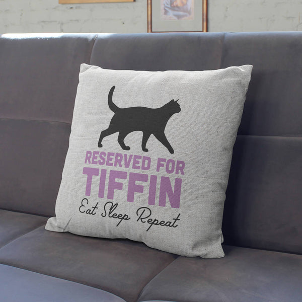 Personalised Reserved For The Cat Cushion